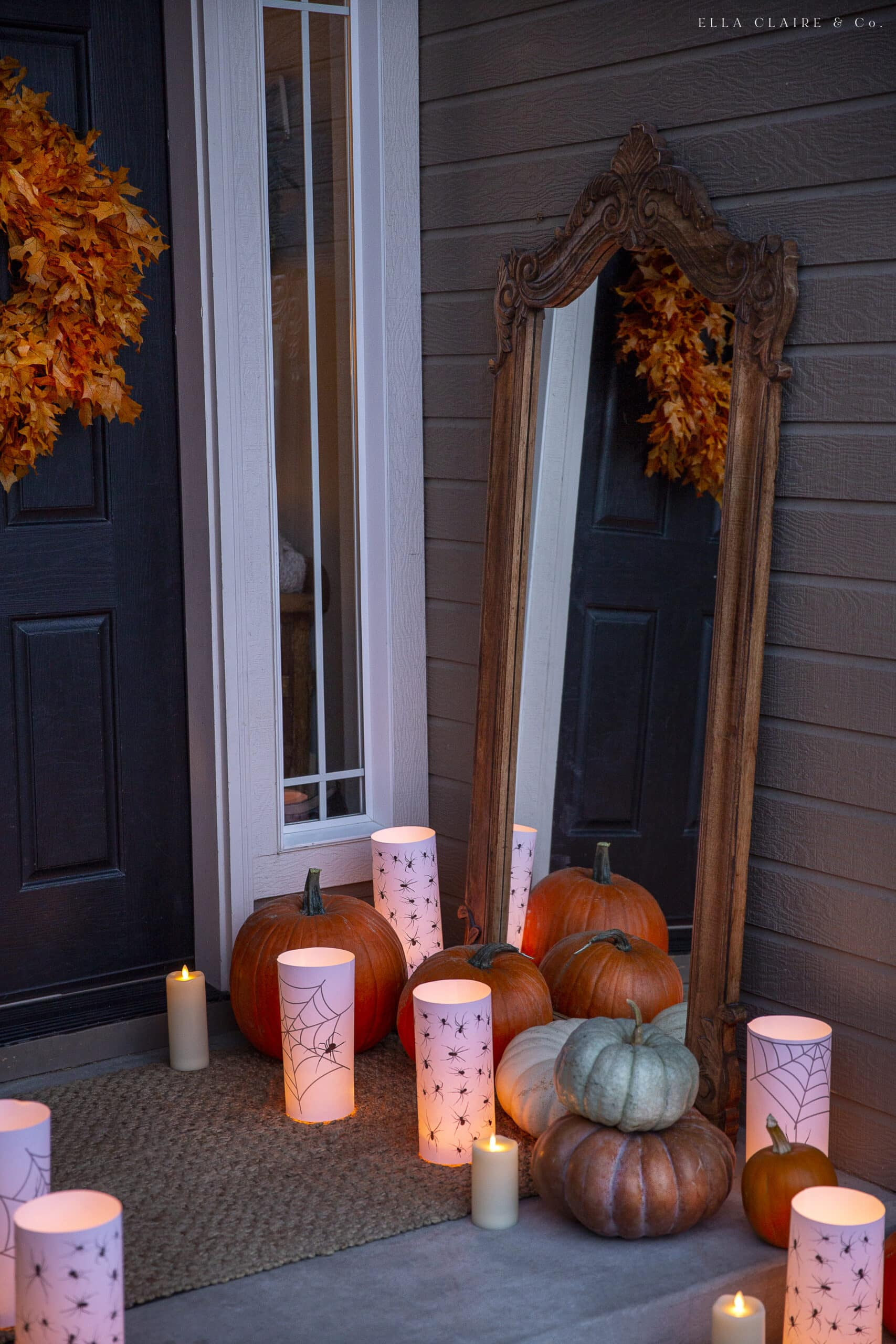 mirror with candles and pumpkins