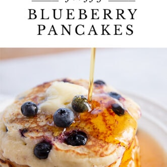fluffy blueberry Pancakes with writing