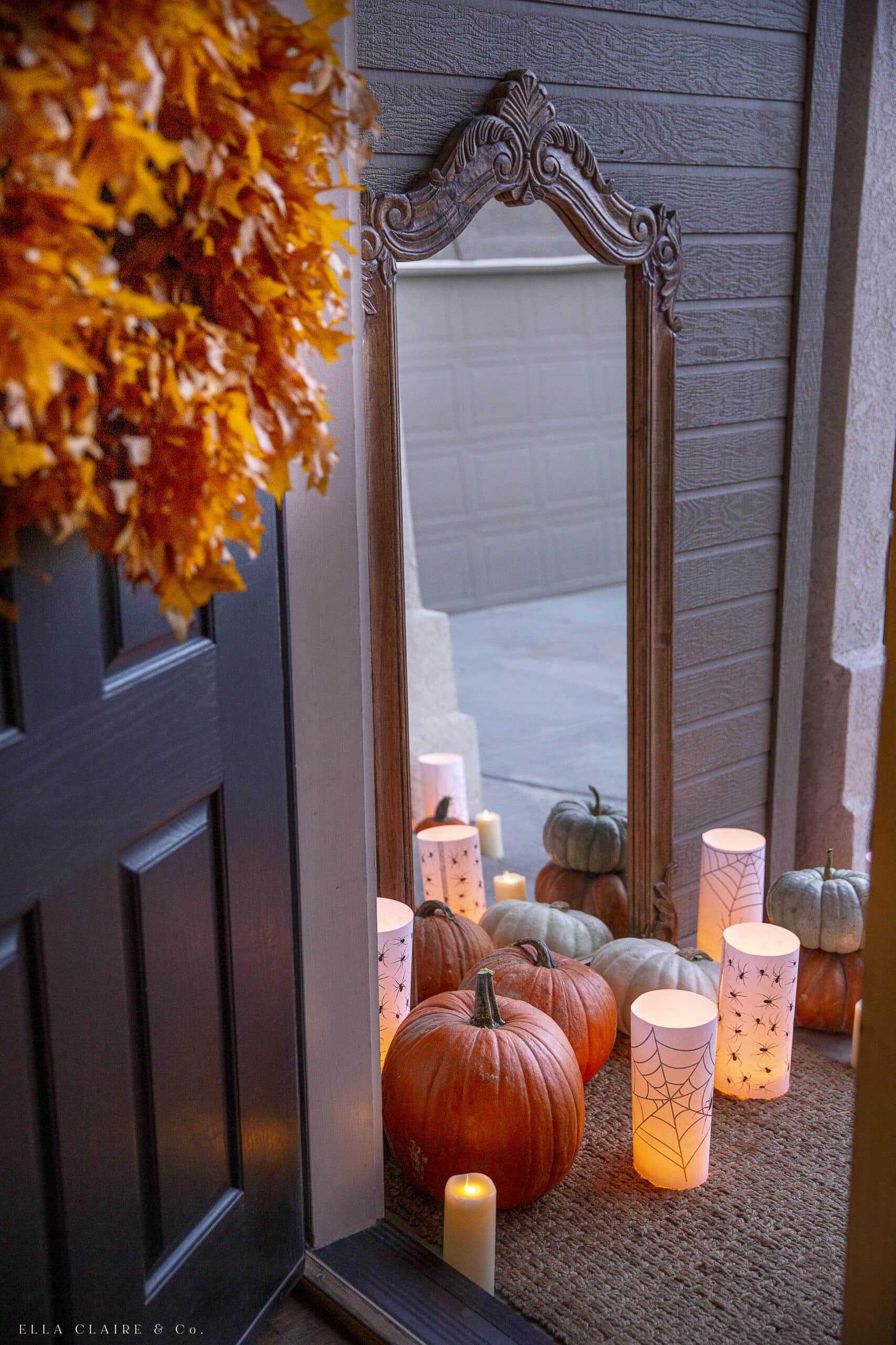 door opening with fall wreath to halloween porch