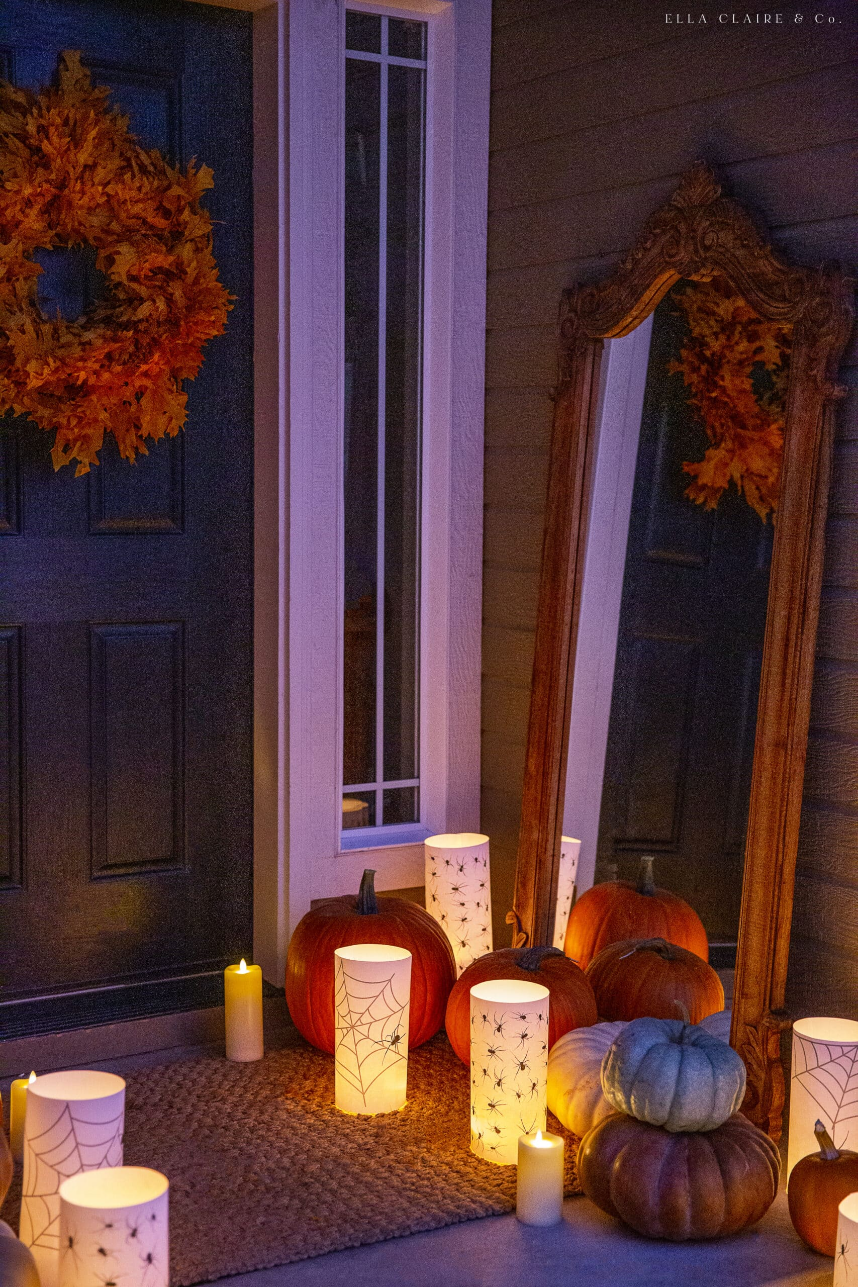 spooky halloween porch at night