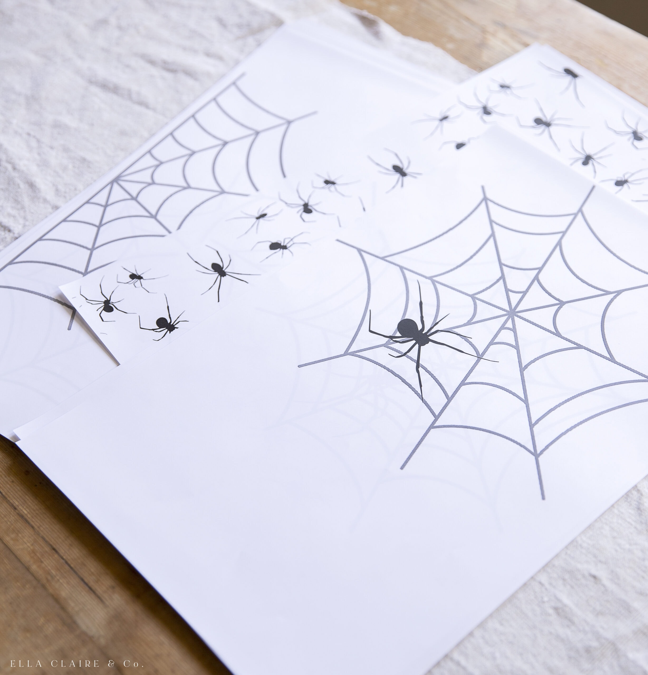 printed sheets with spiders and webs