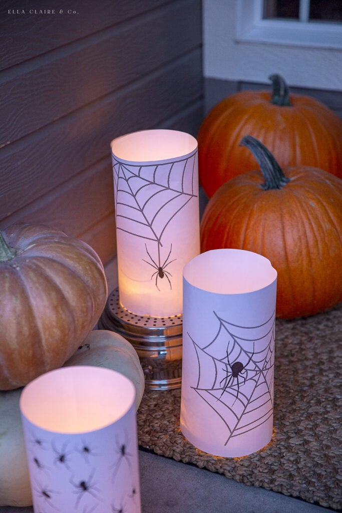 Halloween Lanterns with Spiders and Webs