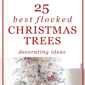 a collection. of 25 flocked Trees decorated