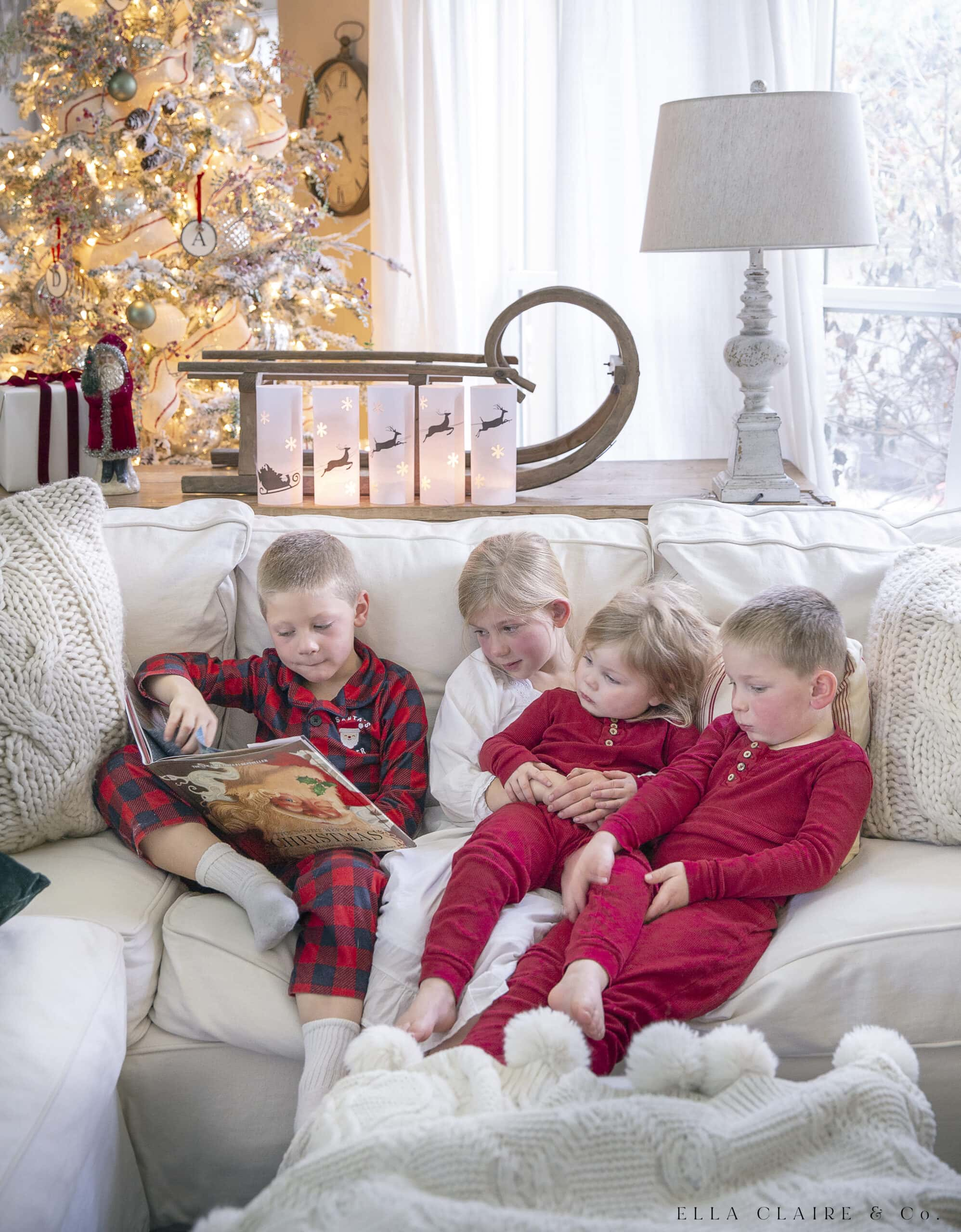 children reading Christmas stories
