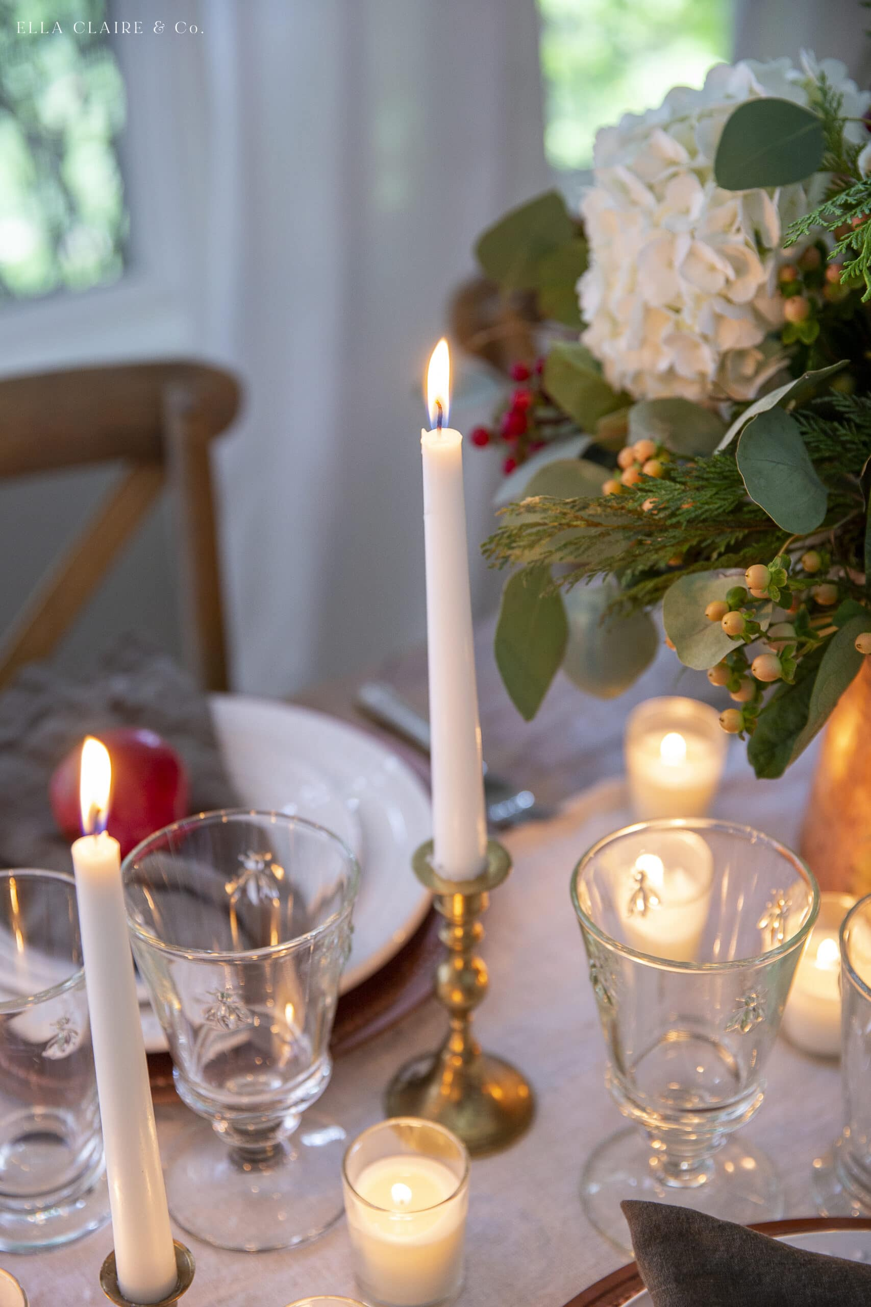 candles in brass candlesticks