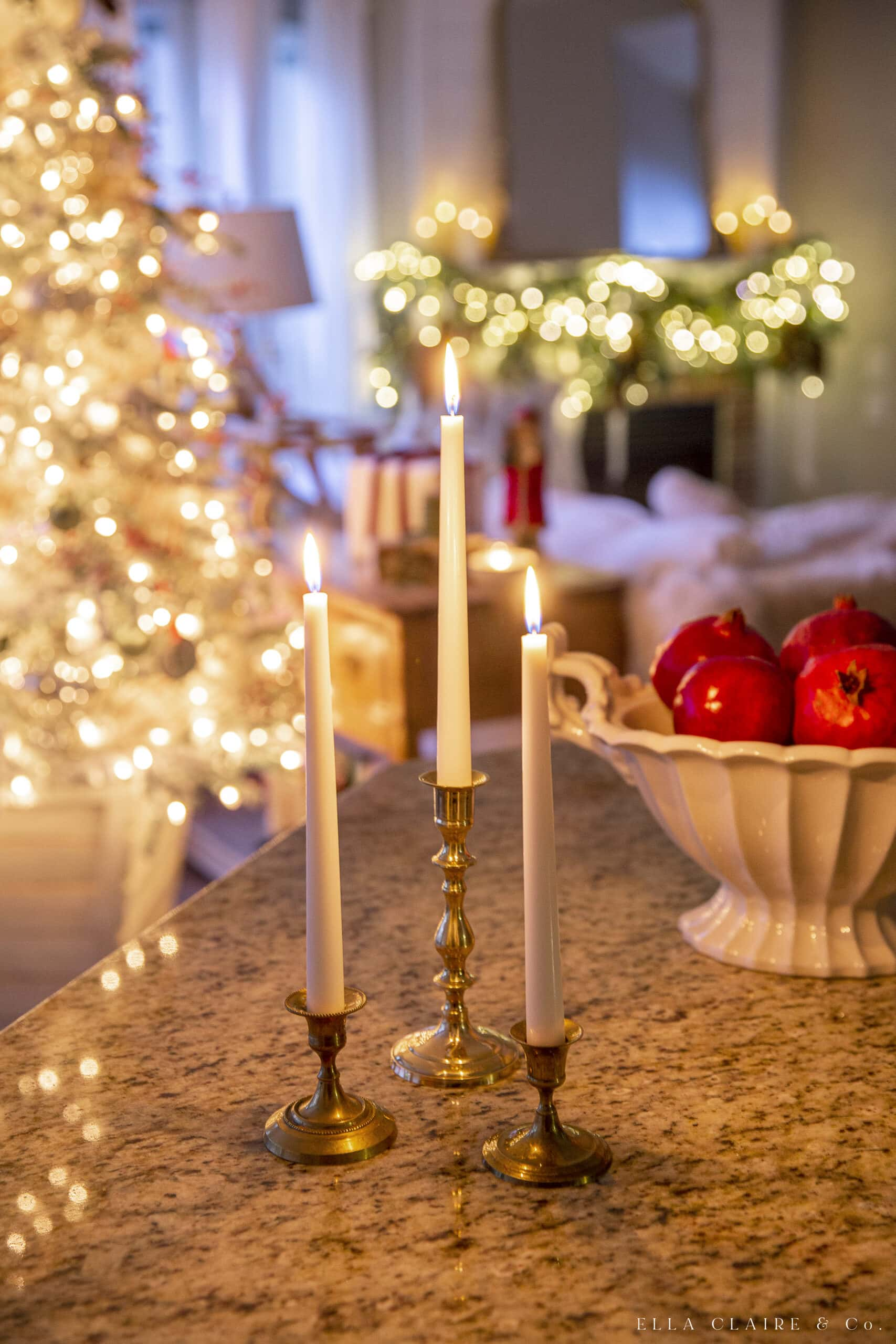candlelight at christmas with tree