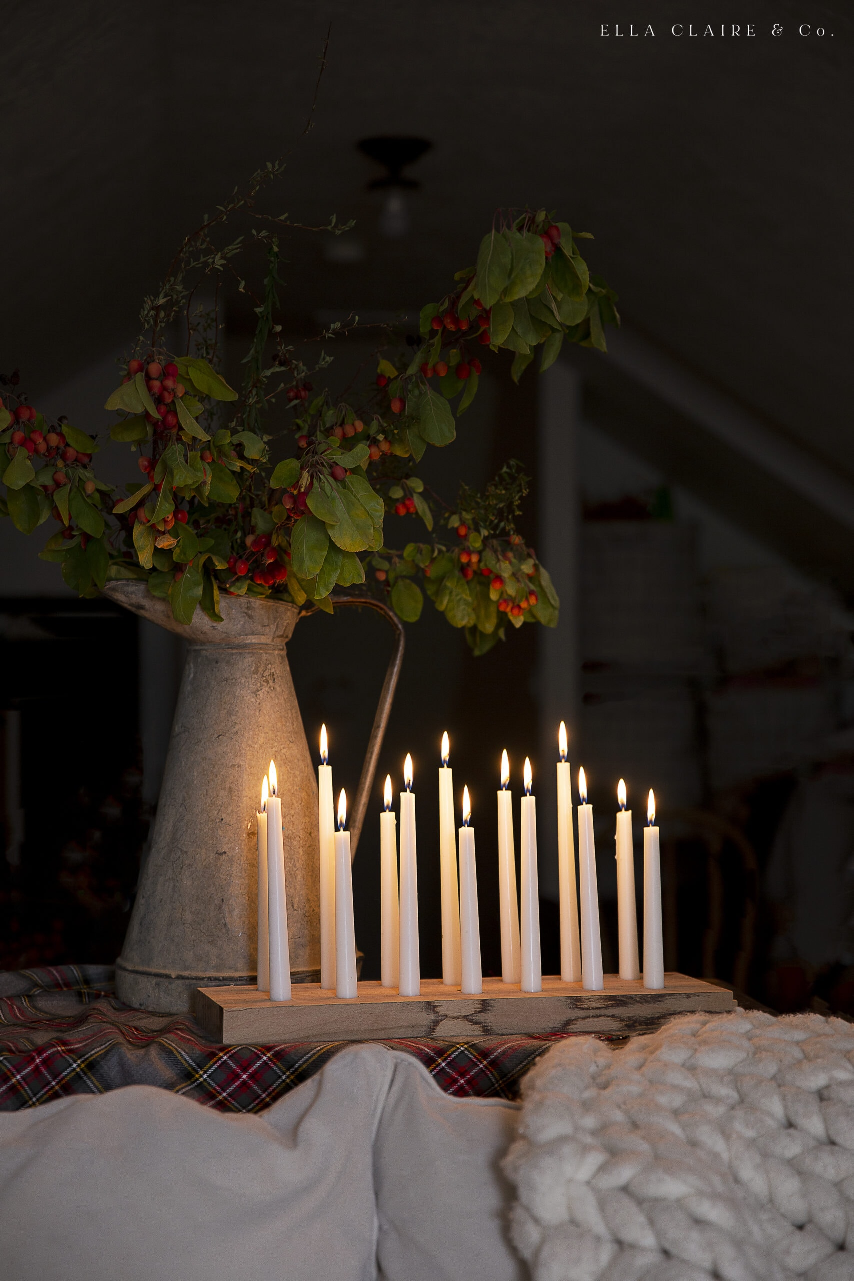 wooden candle holders with taper candles