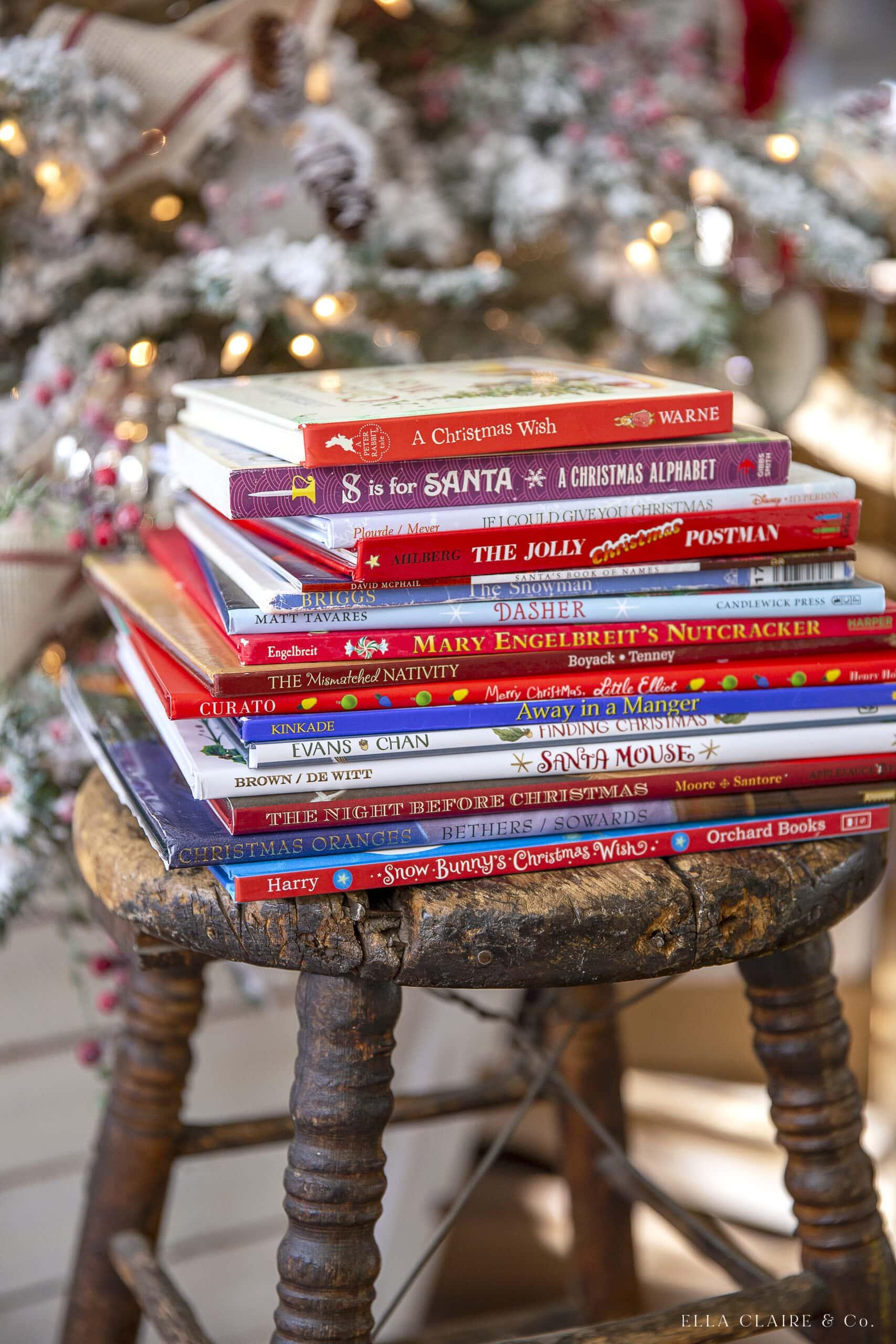 stack of children's Christmas books