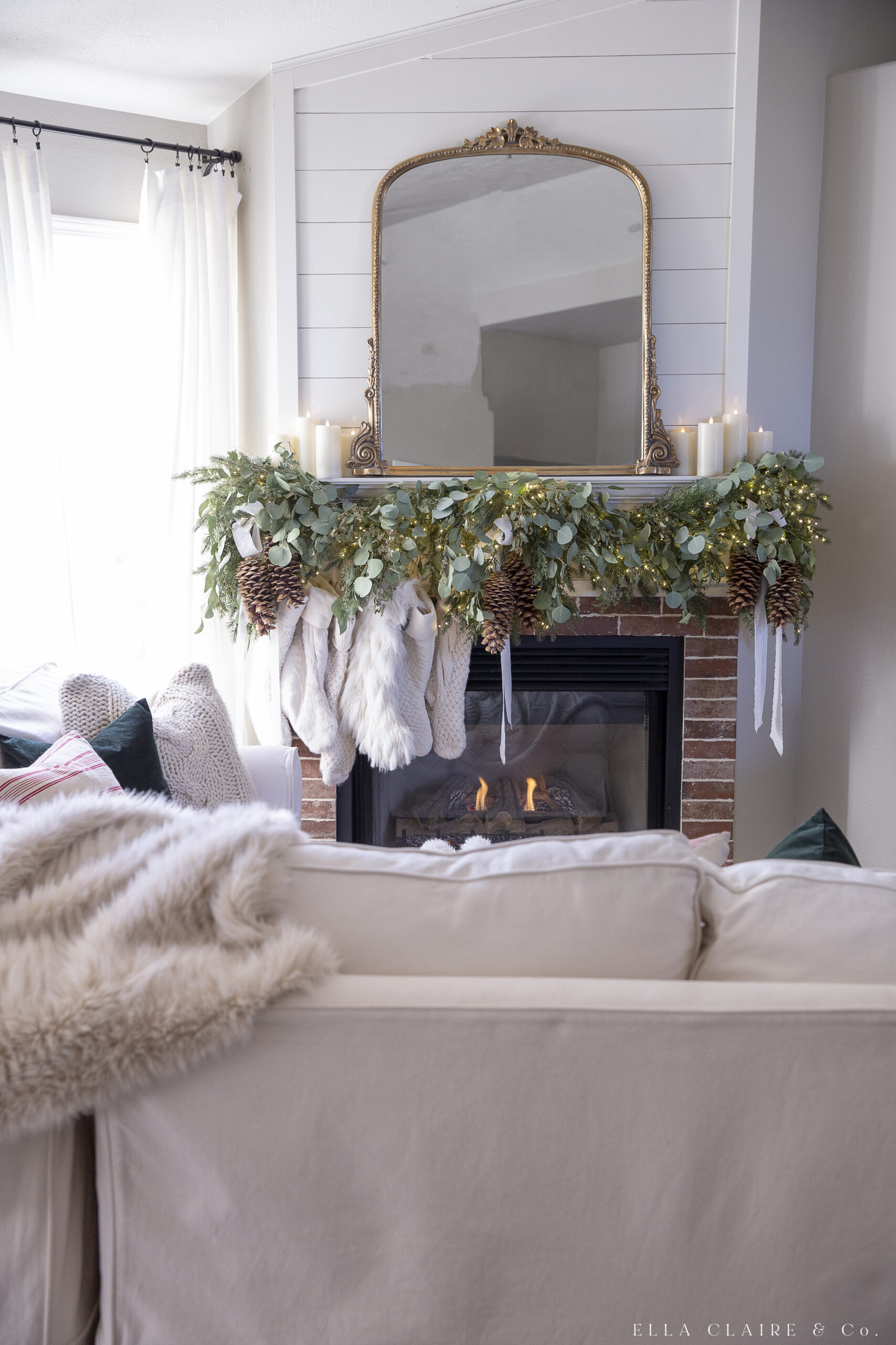 fireplace with mantel garland and stockings
