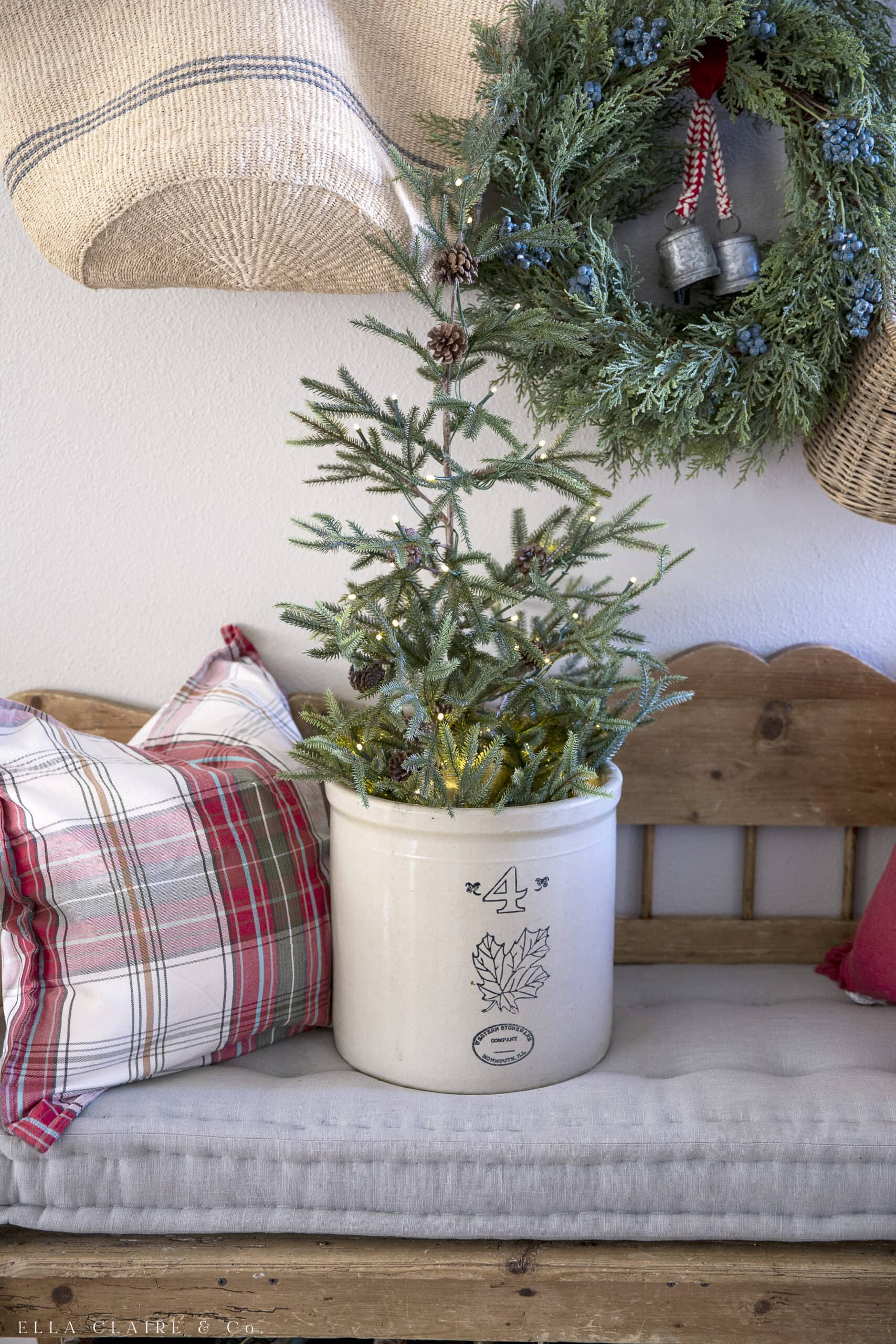 small Christmas tree in vintage crock