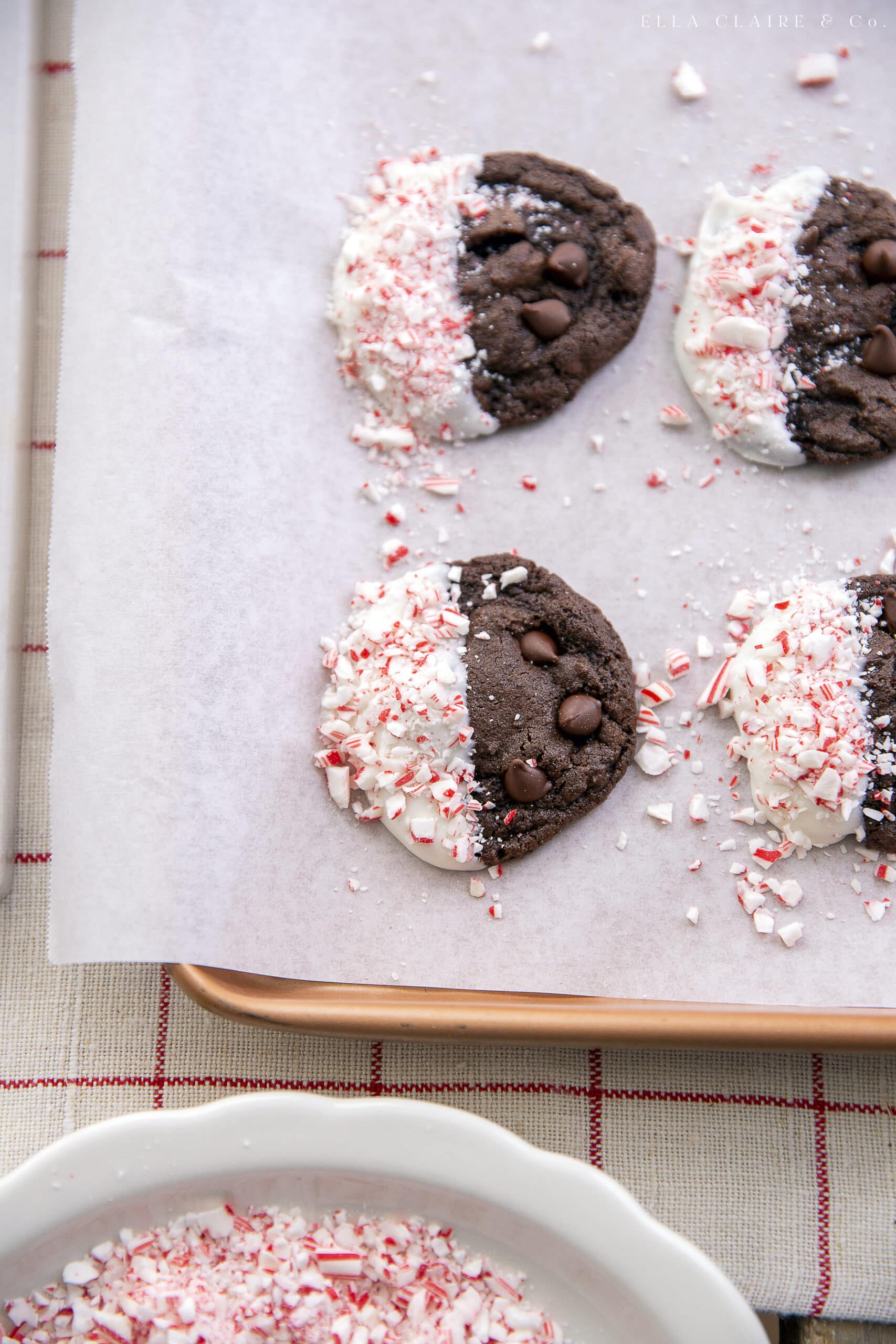 serving double chocolate peppermint cookies