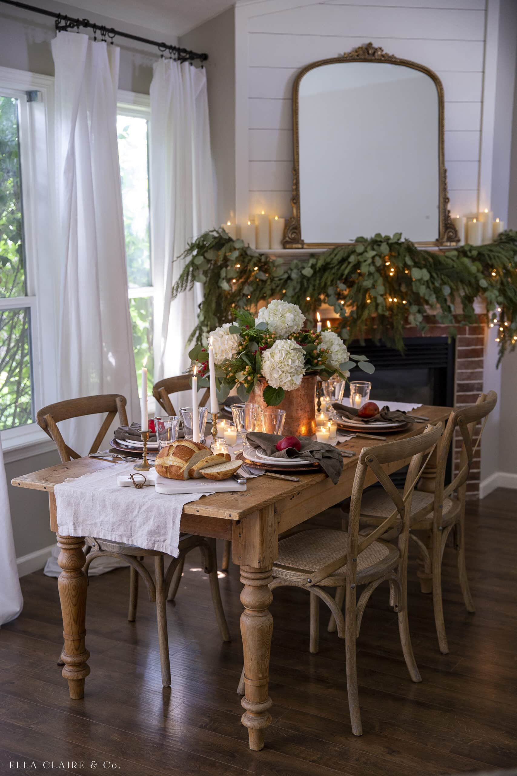 Christmas table with classic vintage decorations