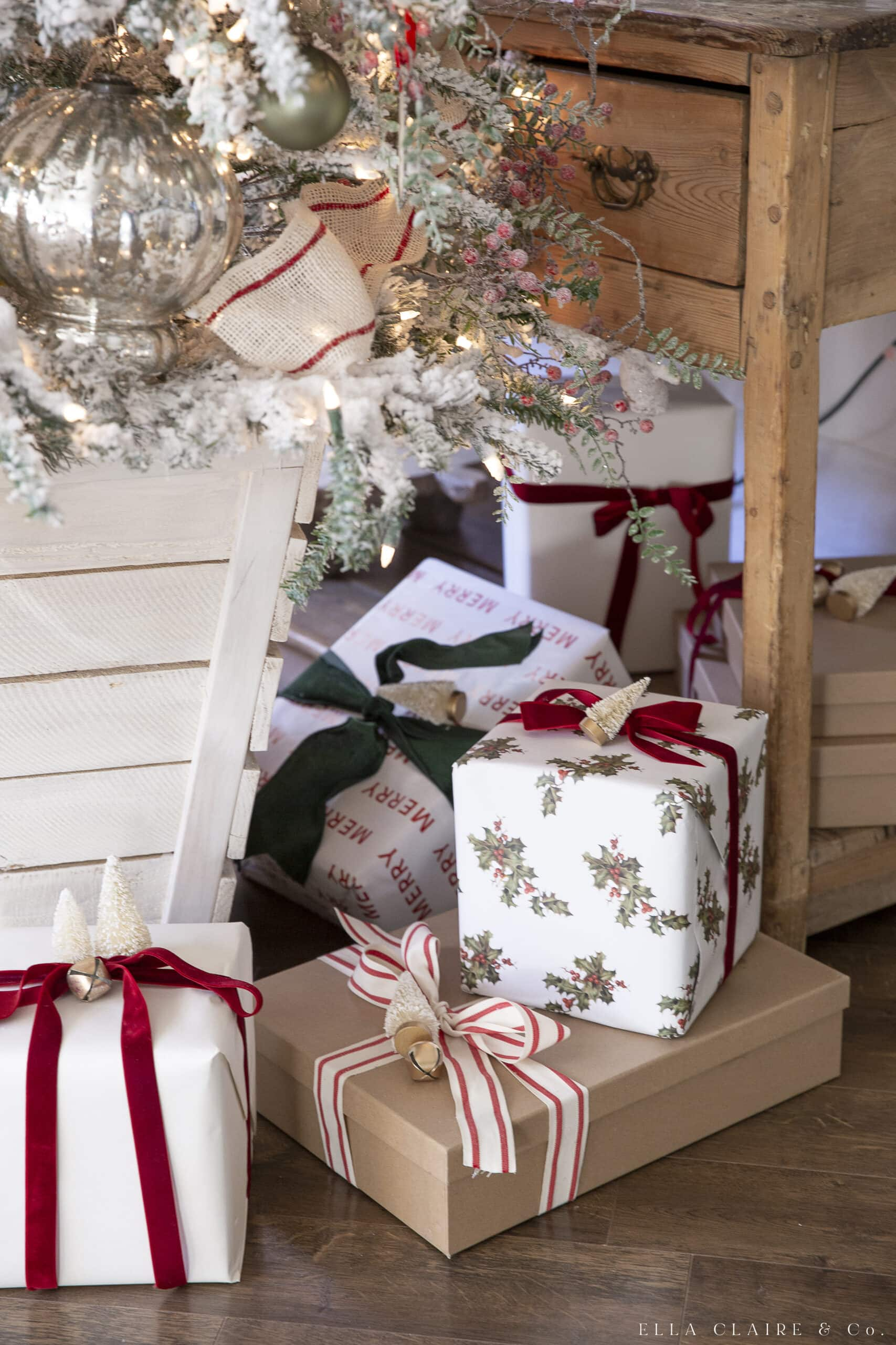 christmas gifts wrapped in red and green colors