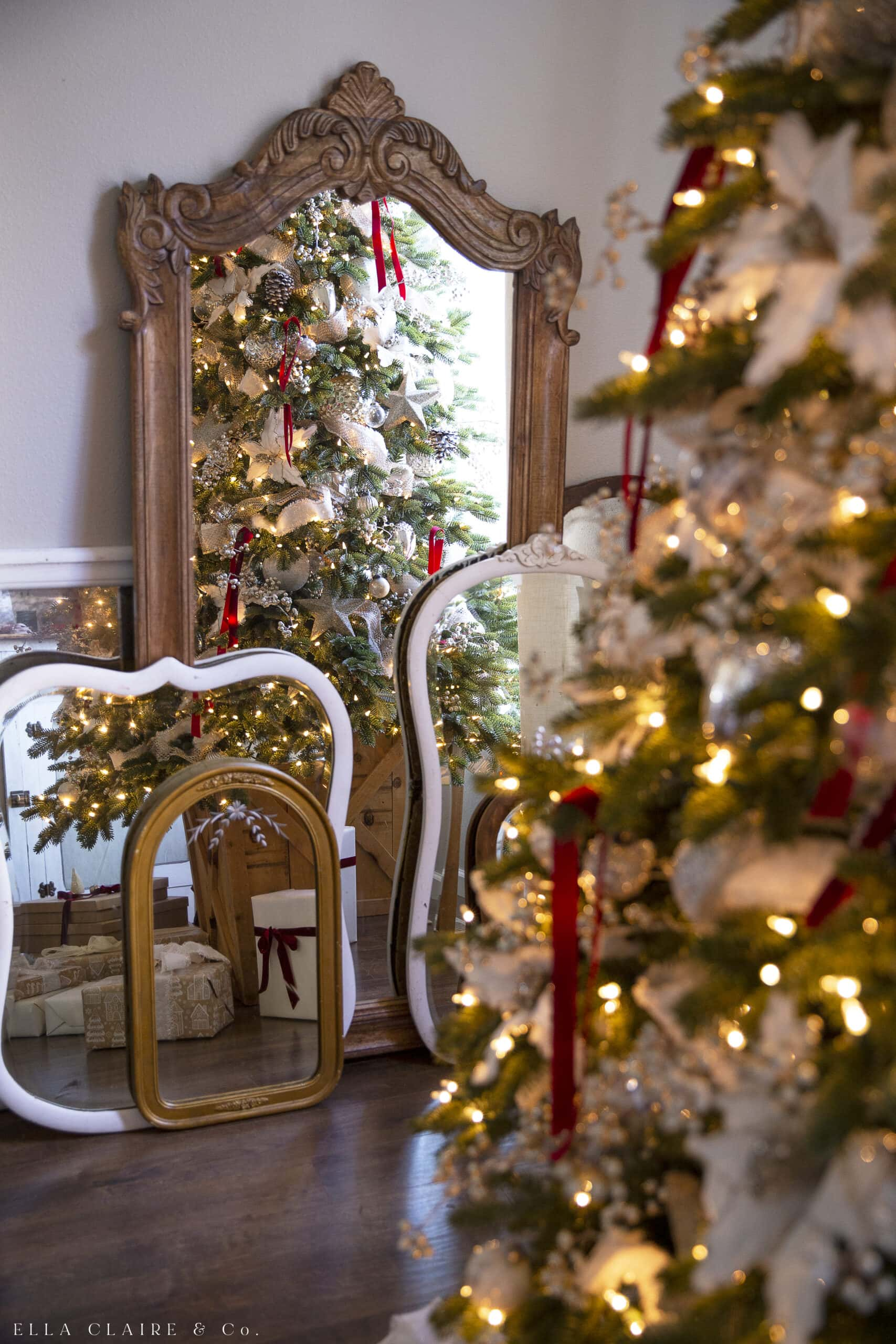 Red And Gold Christmas Tree An Elegant Classic Ella Claire Co