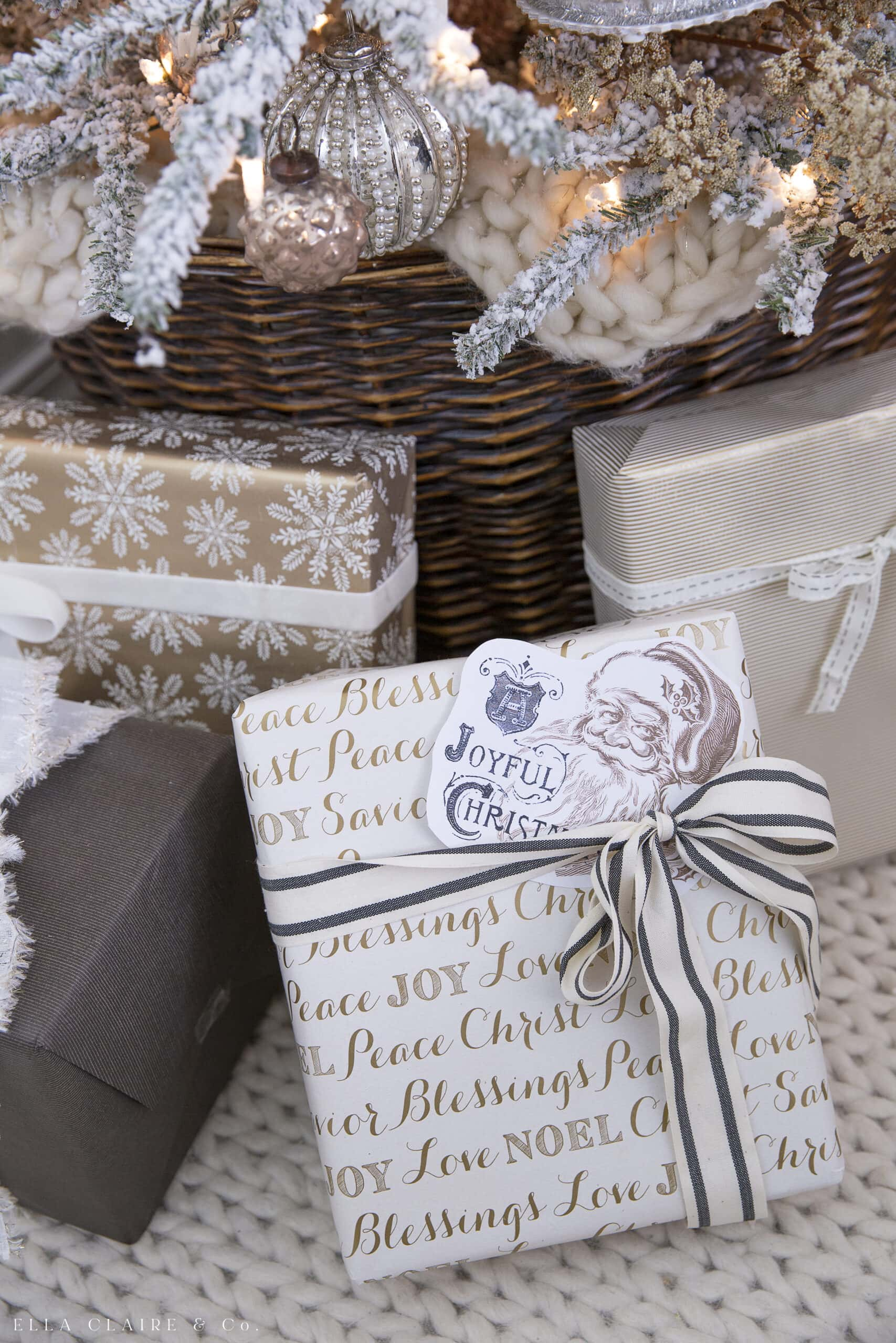 gifts wrapped in gold and cream