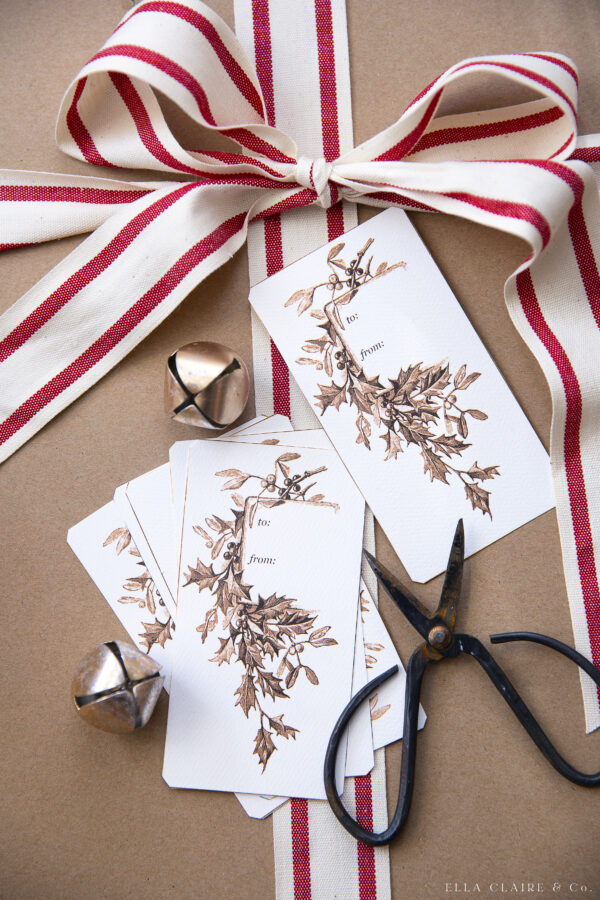 cut up gift tags ready for gift wrapping