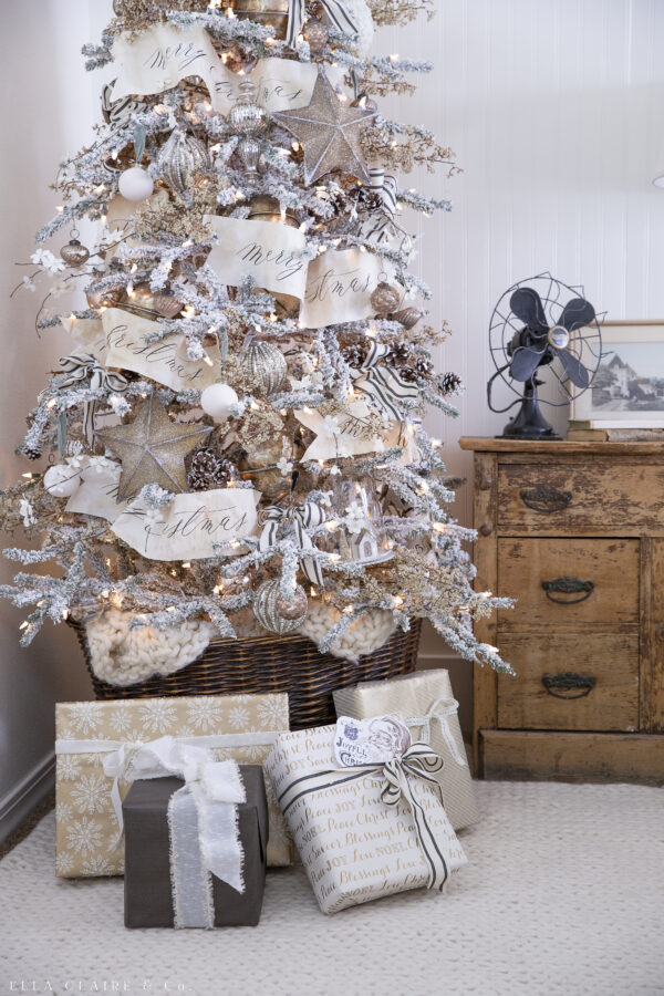 vintage gold and cream christmas tree neutral with presents