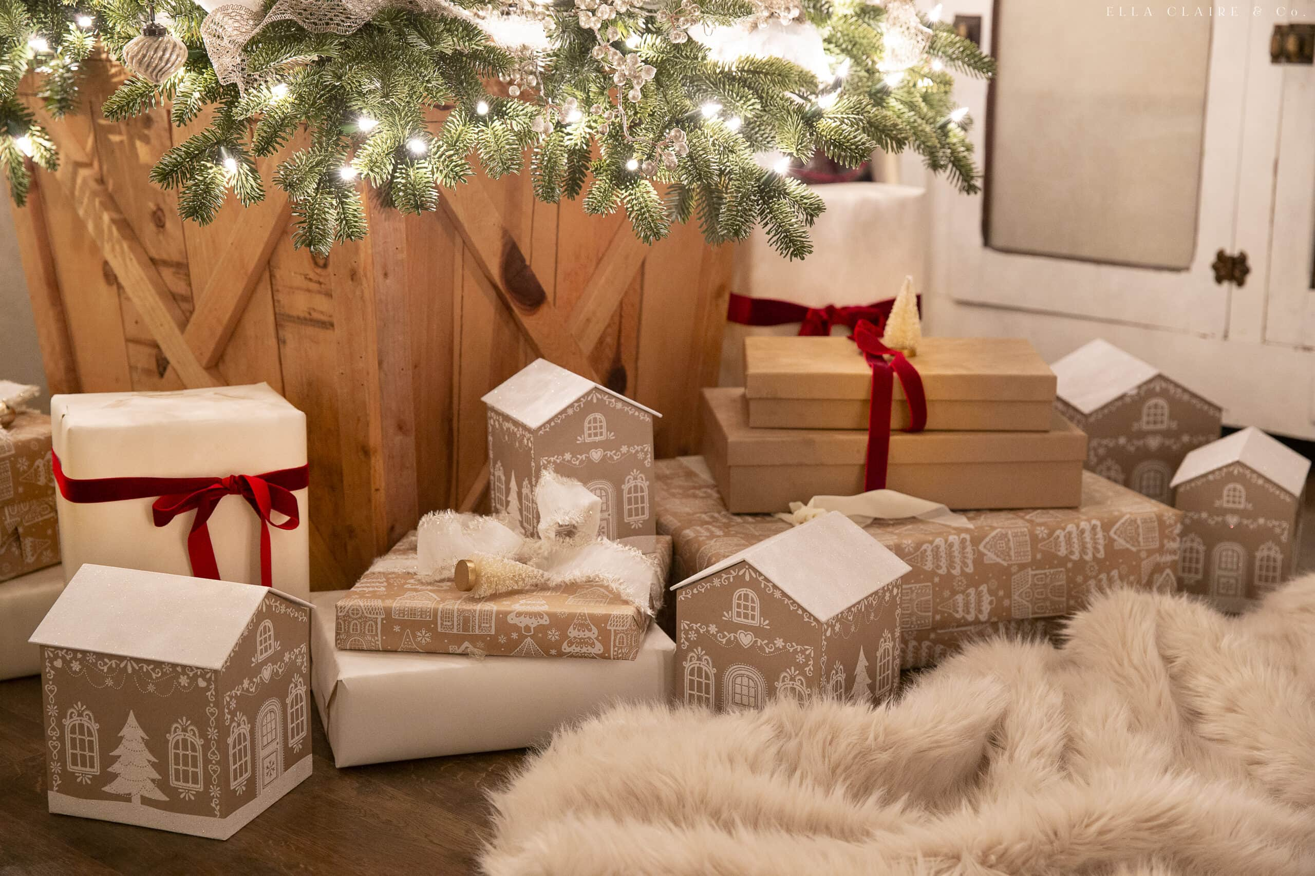 gingerbread gift boxes and wrapping paper