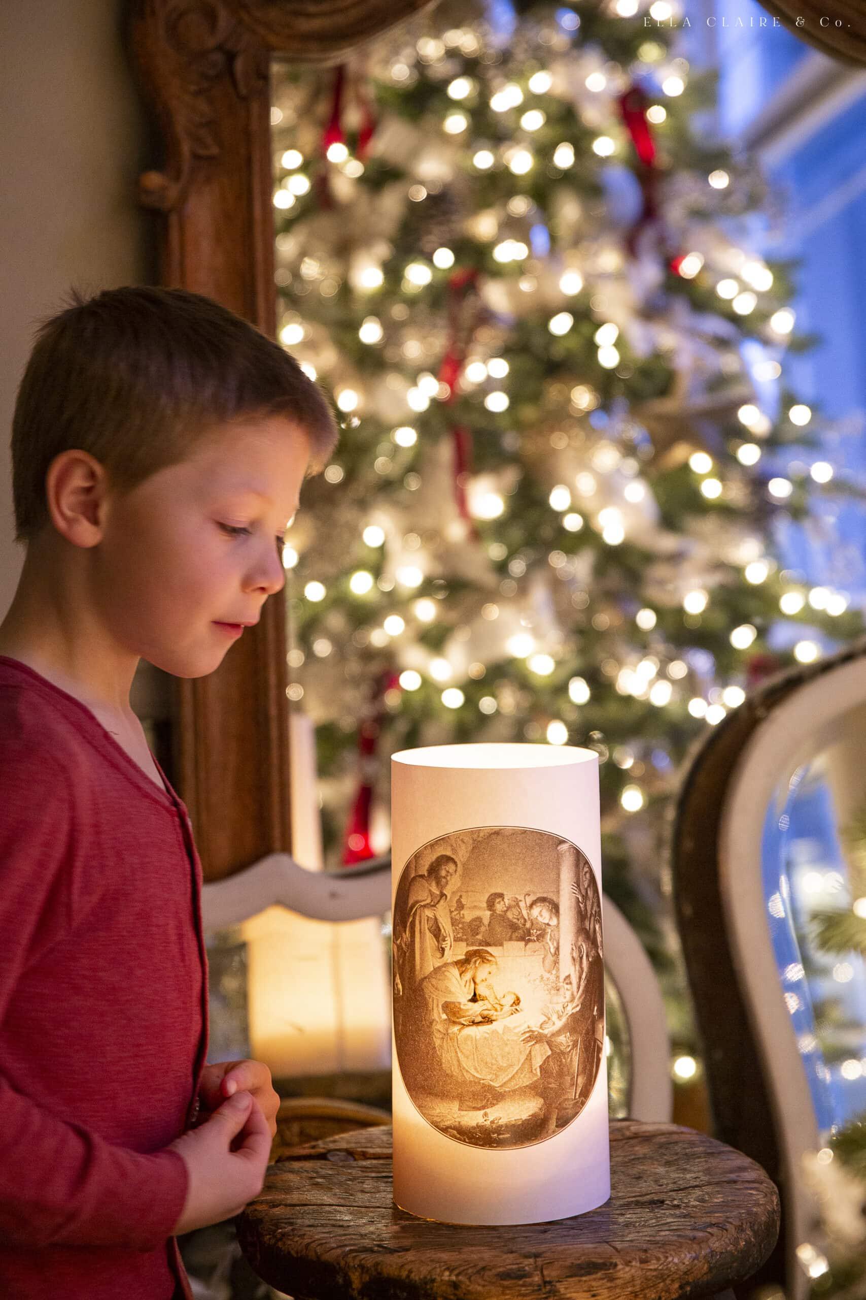 little boy and printable nativity lantern