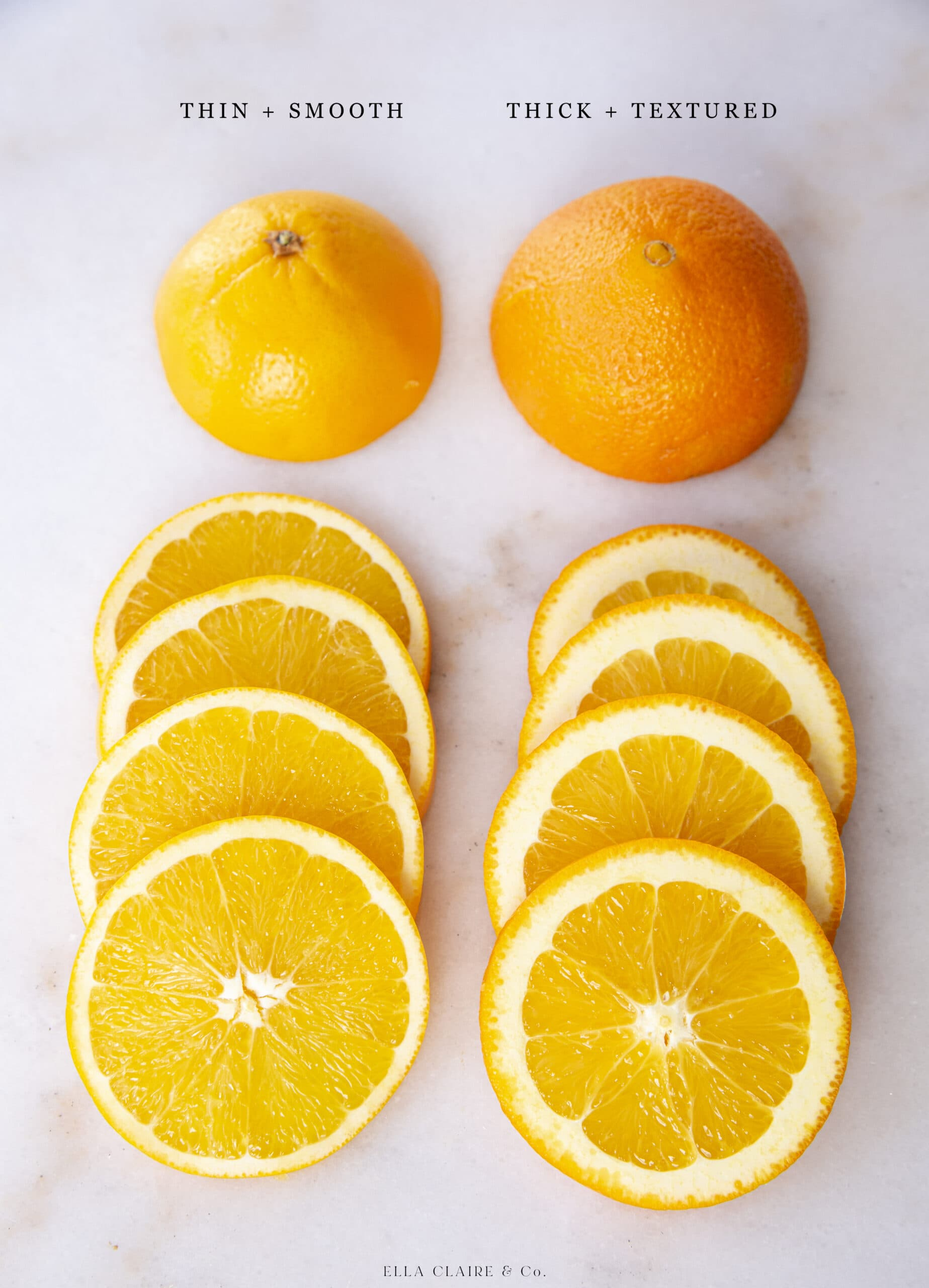 difference in types of oranges in slices