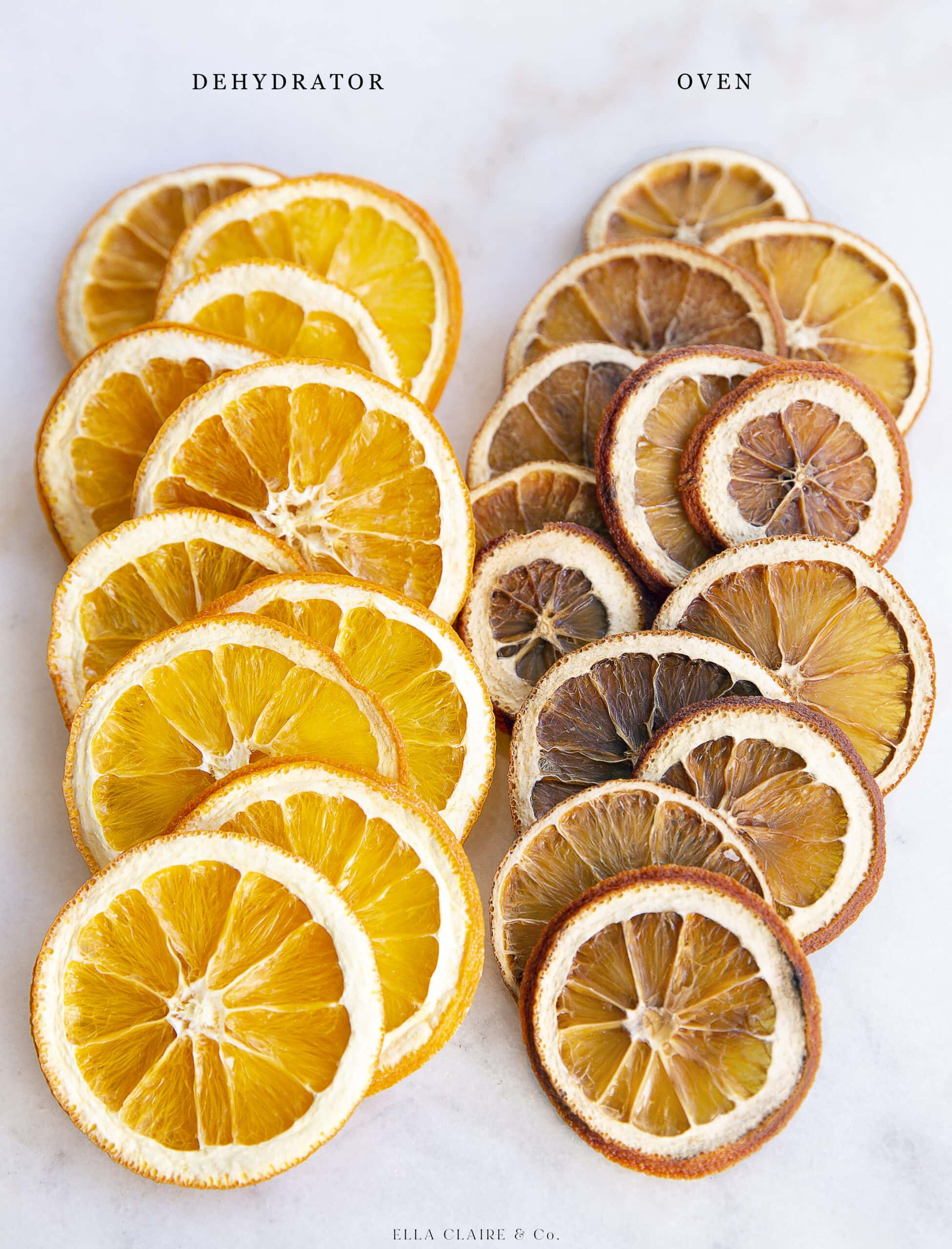 difference between oven and dehydrated oranges