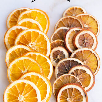 Dried orange slices in oven and dehydrator