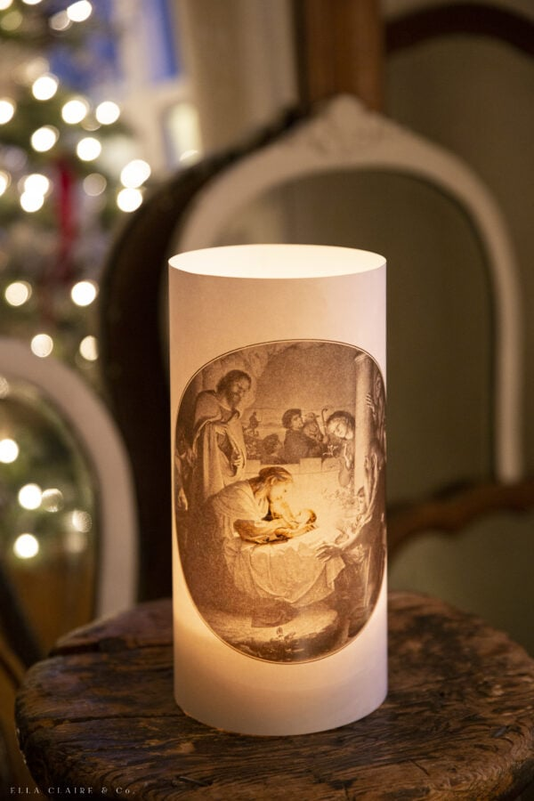 close up of baby Jesus nativity luminary