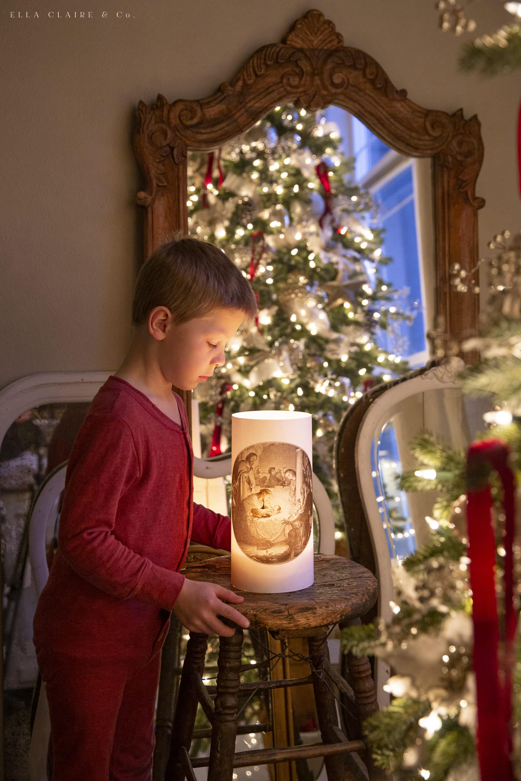 free printable vintage nativity luminary