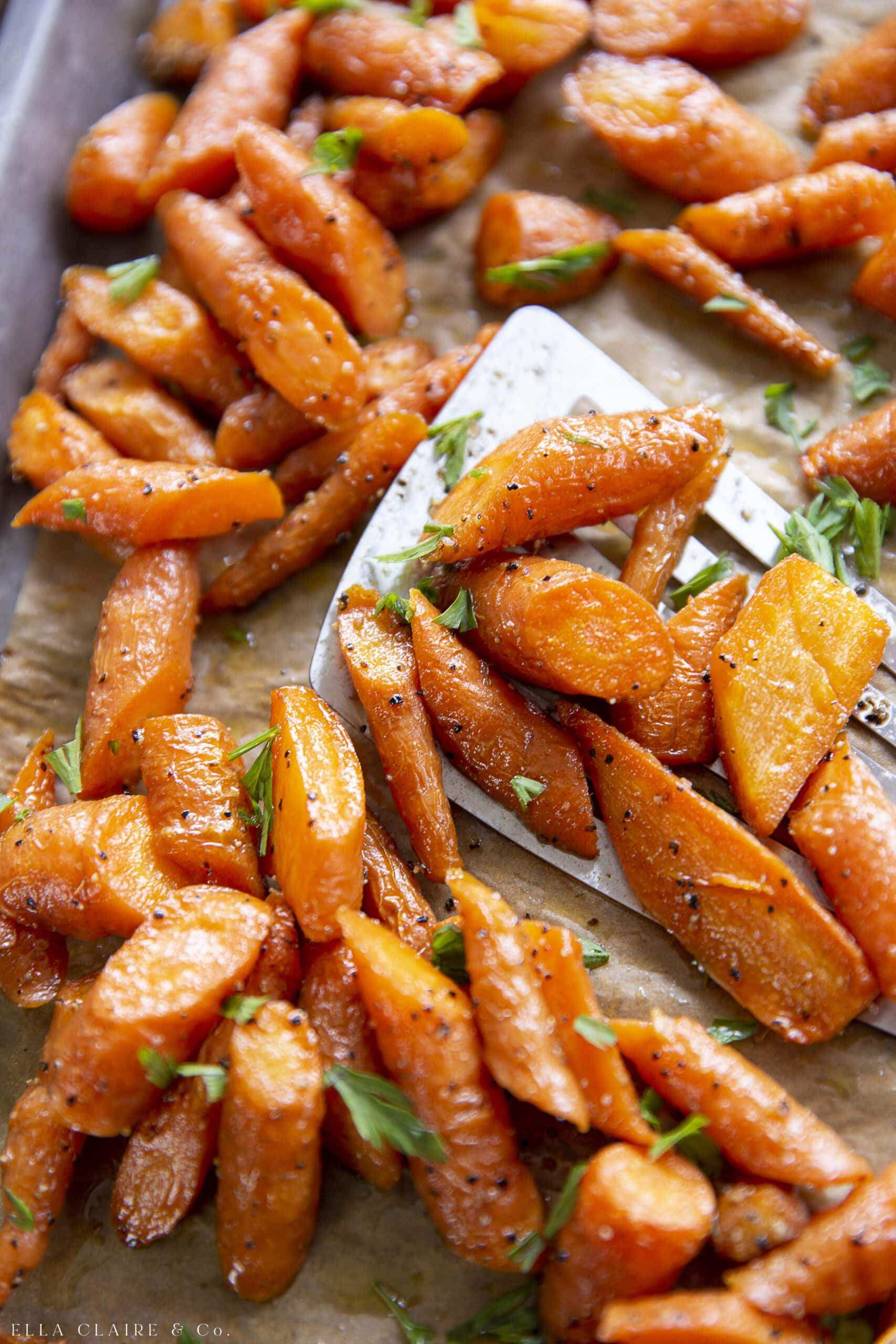 close up of healthy oven roasted carrots side dish