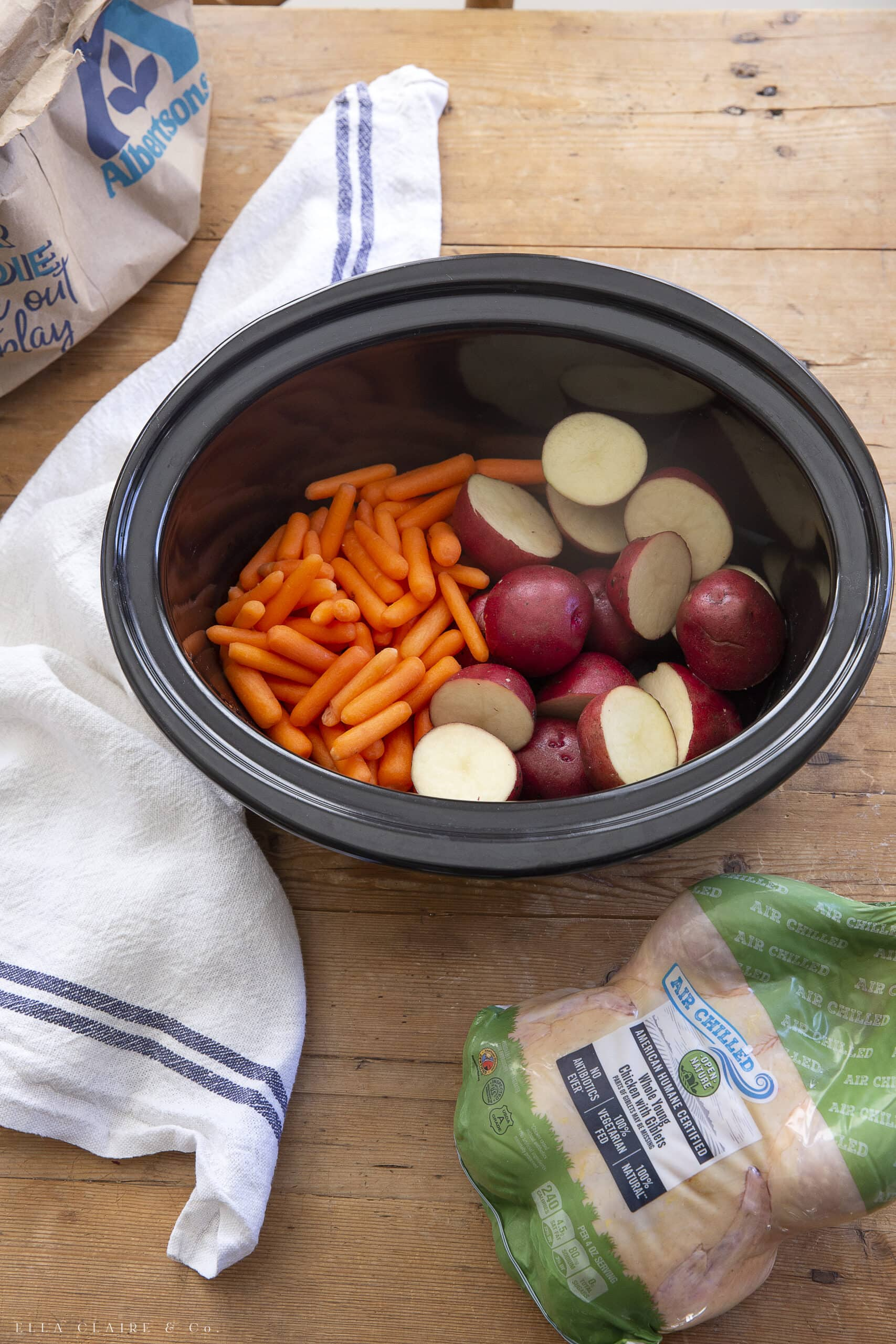 potatoes and carrots with slow cooker whole chicken