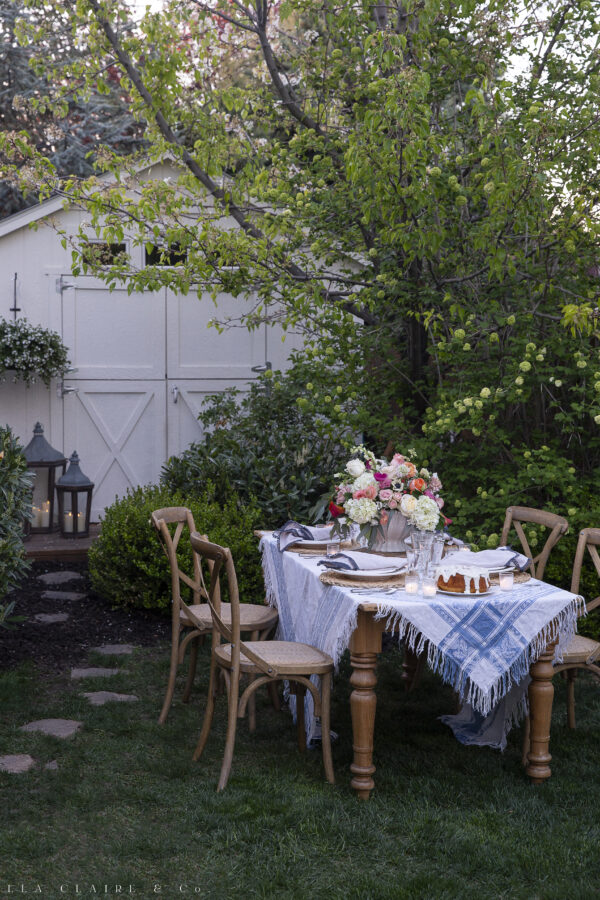 spring outdoor table setting