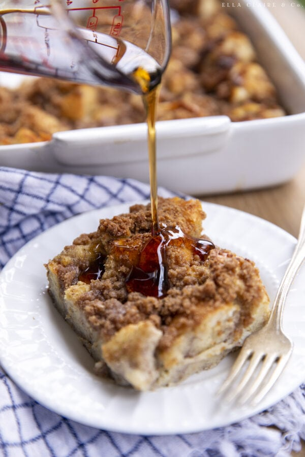 drizzling syrup on top of French toast casserole