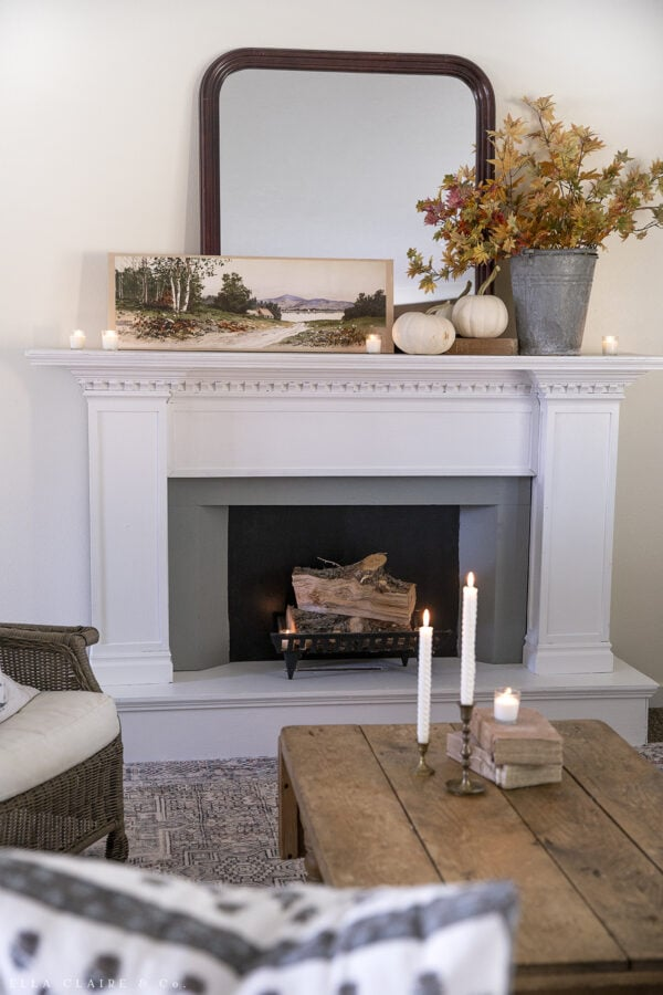 Fall fireplace with decorated mantel