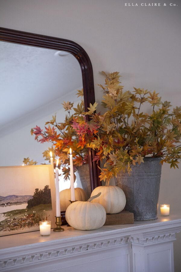 fall leaves and candles mantel