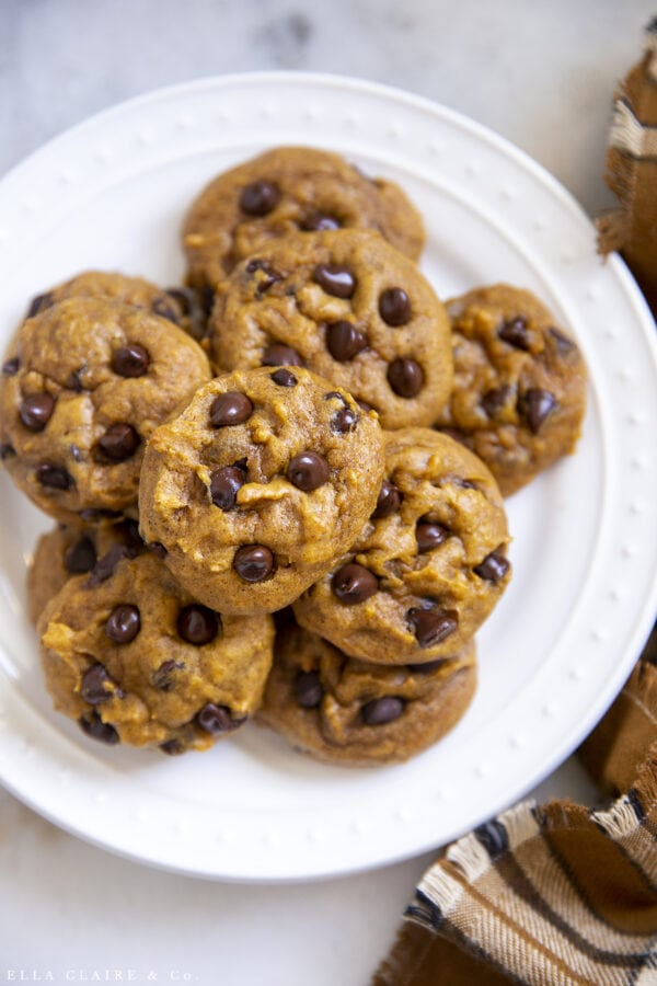 plate of perfect pumpkin chocolate chip cookies